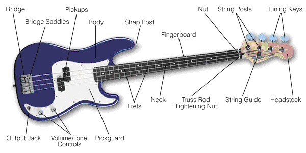 electric bass guitar parts